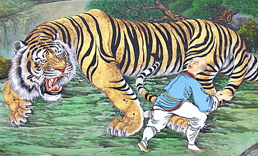 Zen koan painting depicting monk and tiger, Seoul, South Korea, Asia