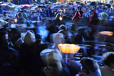 Worshippers with candles, Pope Benedict XVI's visit to Lourdes, Hautes Pyrenees, France, Europe