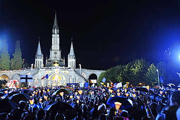 Worshippers outside the Basilica during Pope Benedict XVI's visit to Lourdes, Hautes Pyrenees, France, Europe
