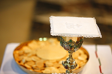 Chalice and host wafers, Reims, Marne, France, Europe