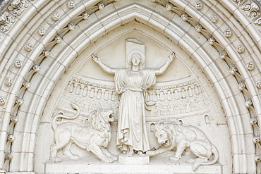 Tympanum depicting the martyr St. Blandine with lions, Lyon, Rhone, France, Europe