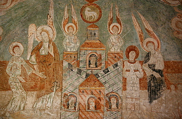 A 12th century Romanesque fresco depicting Celestial Jerusalem in St. Chef abbey church, Saint-Chef-en-Dauphine, Isere, France, Europe
