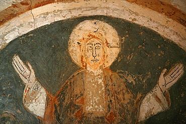 A 12th century Romanesque fresco depicting Jesus Christ in St. Chef abbey church, Saint-Chef-en-Dauphine, Isere, France, Europe