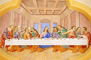 The Last Supper in Saint-Nicolas de Veroce church, Haute Savoie, France, Europe