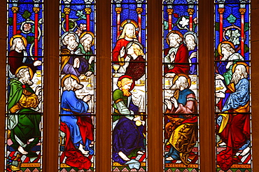 Last Supper stained glass window in St. Andrew's cathedral, Sydney, New South Wales, Australia, Pacific