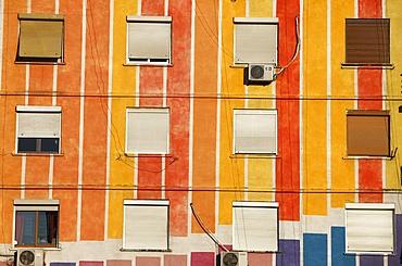 Painted buildings in Tirana, Albania, Europe