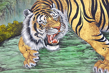 Tiger painting at Bongeunsa temple, Seoul, South Korea, Asia