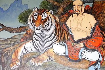 Painting of monk and tiger, Seoul, South Korea, Asia