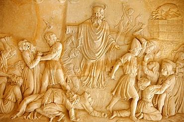 Sculpture depicting Elias fighting the priests of Baal at El Muhraqa, Israel, Middle East