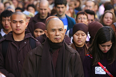 Walking meditation led by Thich Nhat Hanh, Paris, France, Europe