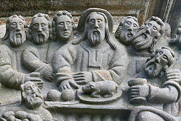 The Last Supper, a scene from the Life of Jesus on the Guimiliau calvary, Guimiliau, Finistere, Brittany, France, Europe