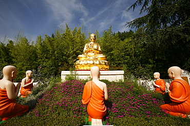 Statues of Buddha with his disciples in Benares, Sainte-Foy-Les-Lyon, Rhone, France, Europe