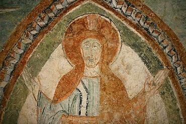 A 12th century Romanesque fresco depicting Jesus Christ, St. Chef Abbey church, Saint-Chef-en-Dauphine, Isere, France, Europe