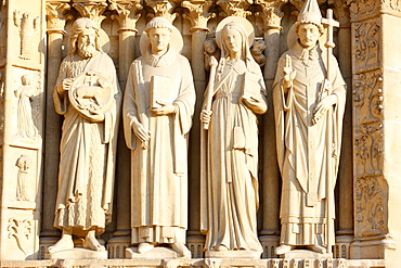 St. John the Baptist, St.-Etienne, Ste. Genevieve and Pope St. Sylvester, Virgin's Gate, west front, Notre Dame Cathedral, UNESCO World Heritage Site, Paris, France, Europe