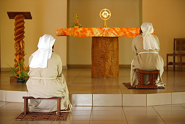 Holy Sacrament adoration at Akepe monastery, Akepe, Togo, West Africa, Africa