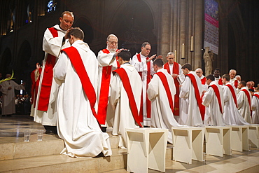Priest ordinations at Notre Dame de Paris Cathedral, Paris, France, Europe