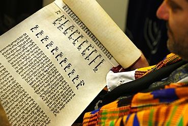 Book of Esther (Meguilah), Purim celebration in a Liberal synagogue, Paris, France, Europe