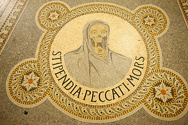 Mosaic of skull depicting Stipendium peccati mors (the wages of sin is death) in Fourvire basilica, Lyon, Rhone, France, Europe