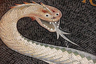 Mosaic of the serpent that said to the woman, no, you shall not die the death, in Fourviere Basilica, Lyon, Rhone, France, Europe