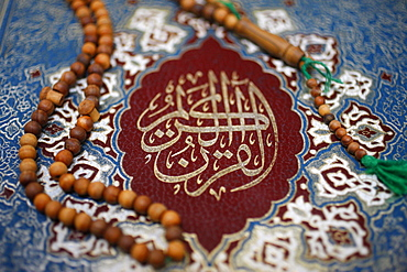Koran cover and prayer beads, Lyon, Rhone, France, Europe