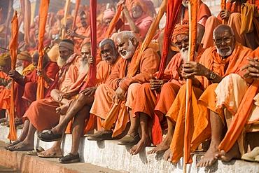 Sadhus gathered for Shivaratri festival in Varanasi, Uttar Pradesh, India, Asia