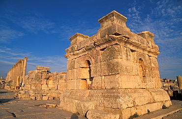 A podium at the South Tetrakionia, Jerash, Jordan, Middle East
