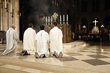 Holy sacrament adoration in Notre Dame de Paris cathedral, Paris, France, Europe