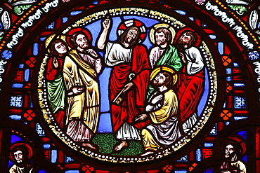 Stained glass in Ainay Basilica depicting Jesus giving keys to St. Peter, Lyon, Rhone, France, Europe