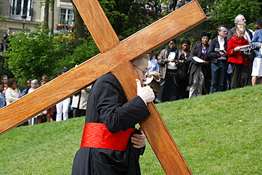 Paris Archbishop carrying a cross on Good Friday, Paris, France, Europe