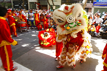 Lion dance performers, Chinese New Year, Ho Chi Minh City, Vietnam, Indochina, Southeast Asia, Asia