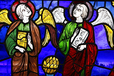 Two angels in stained glass at The International Stained Glass Centre, Chartres, Eure-et-Loir, France, Europe