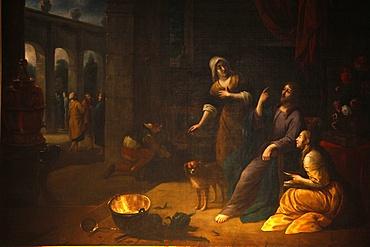 Painting depicting Jesus with sisters Mary and Martha, Saint Gervias-Saint Protais church, Paris, France, Europe