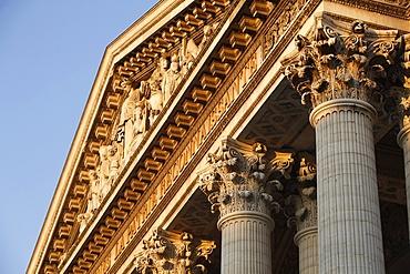 Pediment and Corinthian columns of the Pantheon, Paris, France, Europe