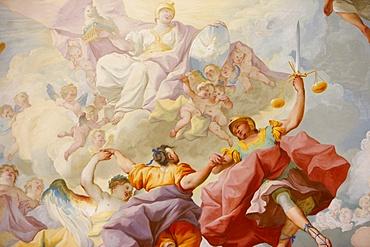 Melk Abbey Library fresco of Justice by Paul Troger dating from 1732, Melk Abbey, Melk, Lower Austria, Austria, Europe