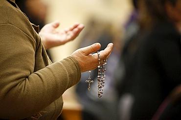 Maundy Thursday celebration in St. Thomas Chaldean church, Sarcelles, Val d'Oise, France, Europe