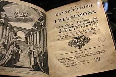 Title page of the Freemason Constitution, Freemasons' Museum, Paris, France, Europe