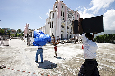 Port au Prince cathedral damaged by the 2010 earthquake, Port au Prince, Haiti, West Indies, Central America
