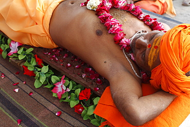 Guru lying on a bed of nails in Pilot Baba camp at Kumbh Mela in Haridwar, Uttarakhand, India, Asia