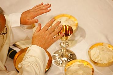 Eucharist celebration, Haute-Savoie, France, Europe