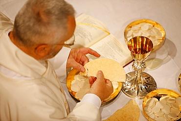 Eucharist celebration, La Roche sur Foron, Haute-Savoie, France, Europe