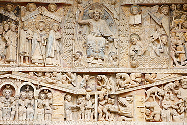 Tympanum showing Christ in Glory and the Last Judgment, Sainte Foy Abbey church, Conques, Aveyron, Massif Central, France, Europe