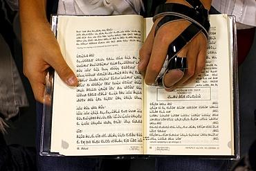 Torah reading in a synagogue, Paris, France, Europe