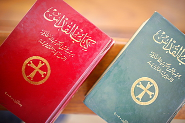 Bibles in Maronite church, Lome, Togo, West Africa, Africa