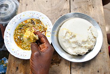 African meal, Lome, Togo, West Africa, Africa