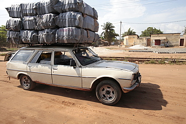 Overloaded vehicle, Lome, Togo, West Africa, Africa