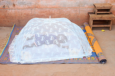 Baby sleeping under a mosquito net, Lome, Togo, West Africa, Africa