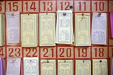 Fortune telling sheets, Pak Chonk, Thailand, Southeast Asia, Asia