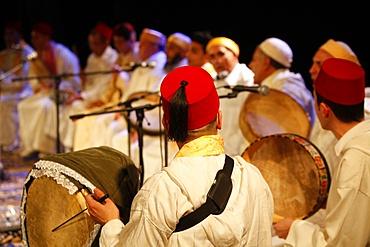 Moroccan Sufi musicians, Paris, France, Europe