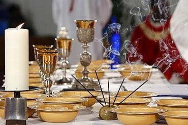 Catholic Mass, Eucharist celebration, Seine-Saint-Denis, France, Europe