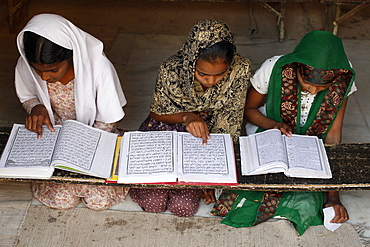 Girls learning Arabic in a medersa (koranic school), Fatehpur Sikri, Uttar Pradesh, India, Asia